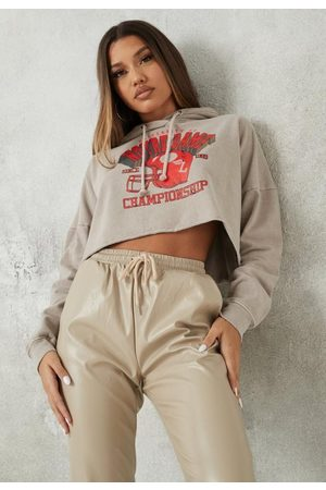 Missguided Sand Notre Dame Graphic Oversized Cropped Hoodie