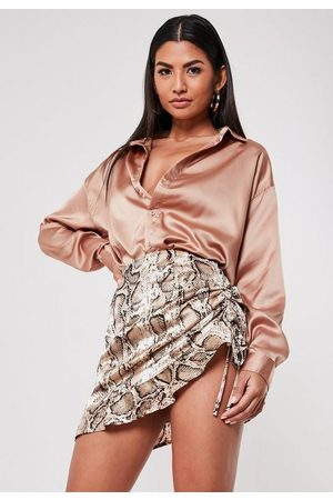 Missguided Women Printed Skirts - Petite Snake Print Satin Ruched Mini Skirt