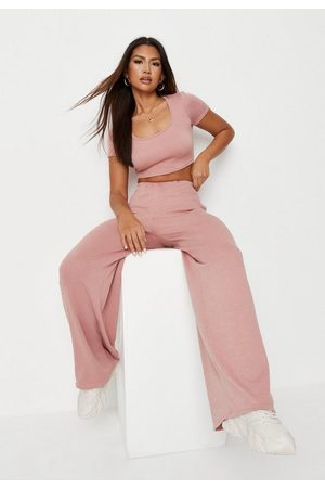Missguided Women Crop Tops - Rib Crop Top And Wide Leg Pants Co Ord Set