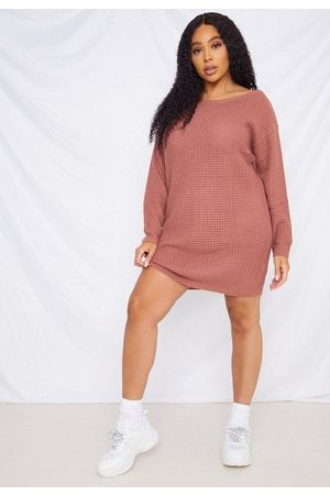 Missguided Women Strapless Dresses - Plus Size Rose Waffle Off The Shoulder Sweater Dress