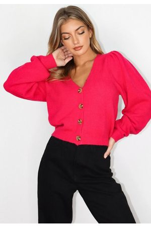 Missguided Pink Pleated Shoulder Cardigan