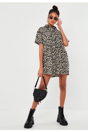 Missguided Women Printed Dresses - Gray Leopard Print Smock Shirt Dress