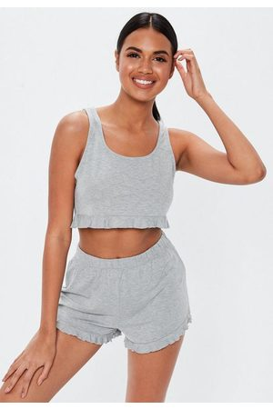 Missguided Gray Frill Crop Tank Top Short Pyjama Set