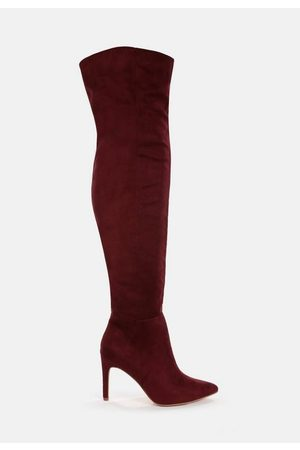 Missguided Faux Suede Mid Heel Over The Knee Boots