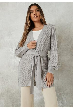 Missguided Women Cardigans - Gray Belted Balloon Sleeve Knit Cardigan