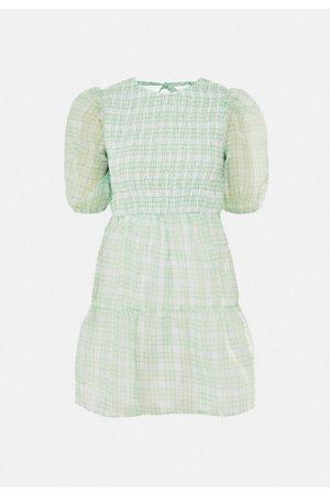 Missguided Women Printed Dresses - Plaid Print Organza Puff Sleeve Skater Dress