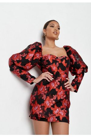Missguided Petite Red Floral Brocade Mini Dress