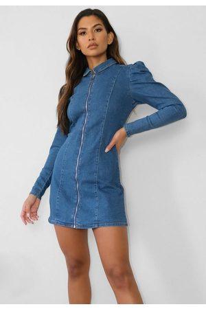 Missguided Zip Through Puff Sleeve Denim Dress