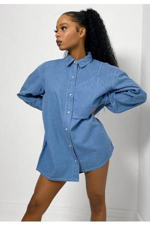 Missguided Women Denim - Bralette Overlay Oversized Denim Shirt
