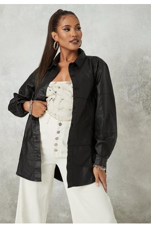 Missguided Coated Seamed Oversized Denim Shirt