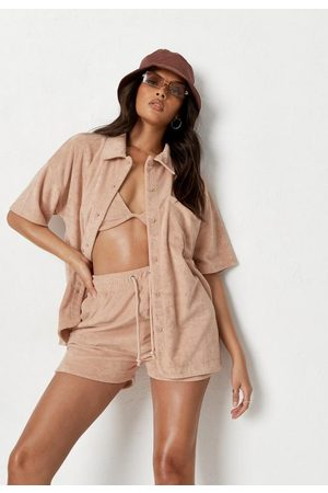 Missguided Women Shirts - Nude Co Ord Terry Towel Shirt