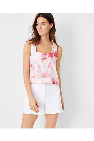 ANN TAYLOR Tie Dye Cropped Square Neck Tank Top