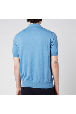 CANALI Men's Wool Silk Fine Gauge Half Zip Polo Shirt