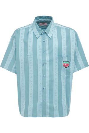 MARTINE ROSE Logo Striped Cotton S/s Shirt