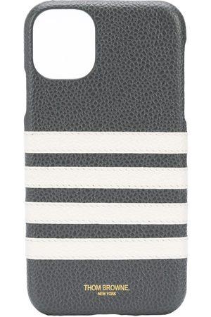 Thom Browne 4-Bar leather iPhone 11 case - Grey