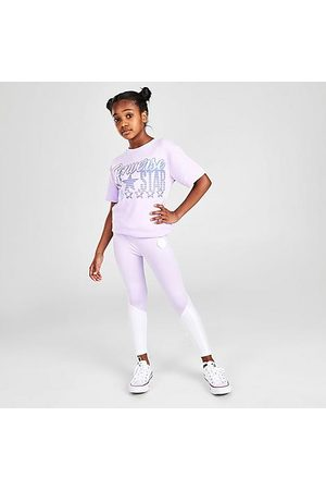 Nike Girls' Converse Foil Blocked High-Rise Leggings in /Violet Frost