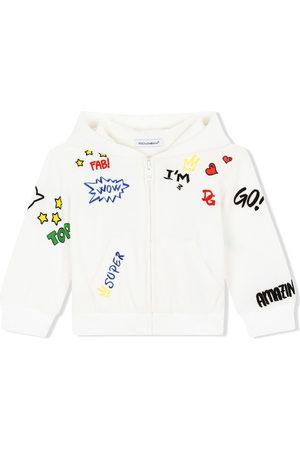 Dolce & Gabbana Hoodies - DG love-print zip hoodie