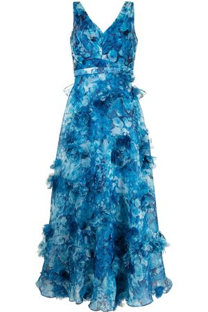 Marchesa Notte Appliqué-detail V-neck dress