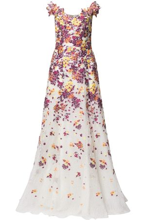 Marchesa Notte Women Printed Dresses - Floral-embroidery V-neck dress - Multicolour