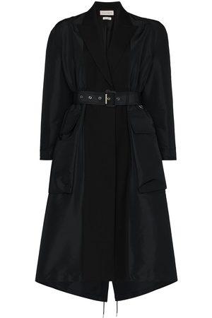 Alexander McQueen Spliced belted-waist trench coat