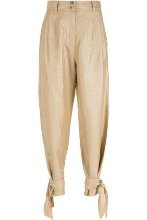 NK Women Straight Leg Pants - Tied straight trousers - Metallic