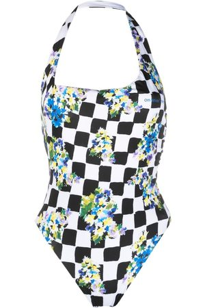 OFF-WHITE One-shoulder diamond check print swimsuit