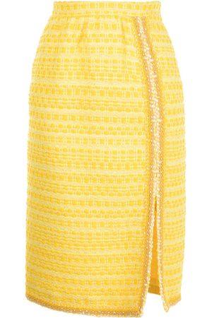 Giambattista Valli Tweed side slit midi skirt