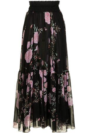 Giambattista Valli Floral flared silk skirt