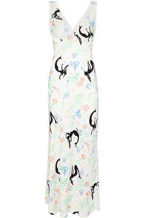 RIXO London Sandrine V-neck maxi dress - Neutrals