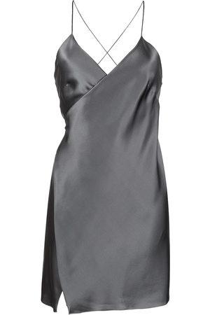 Michelle Mason Wrap-front silk mini dress - Grey