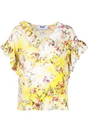 Msgm Floral-print tie-neck blouse
