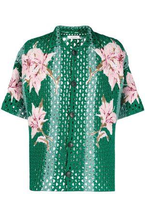 VALENTINO Men Shirts - Floral-embroidered crochet shirt