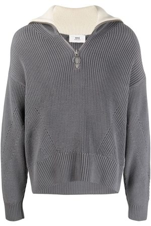 Ami Zip collar fisherman's rib jumper - Grey
