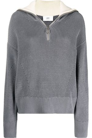 Ami Women Sweaters - Zip-up knitted jumper - Grey