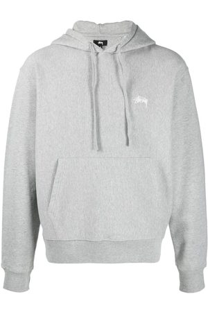 STUSSY Logo embroidered cotton hoodie - Grey
