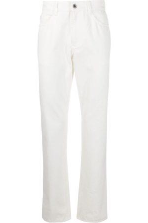 Salvatore Ferragamo Men Straight - Straight-leg logo patch jeans