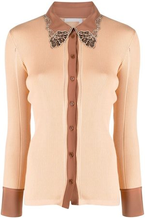 Chloé Lace-detail ribbed cardigan