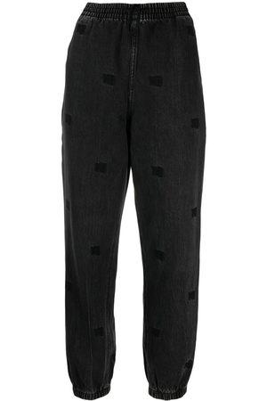 Alexander Wang Women Sweatpants - Embroidered-monogram track pants - Grey