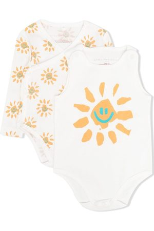 Stella McCartney Two-pack Happy Sun-print bodies - Neutrals