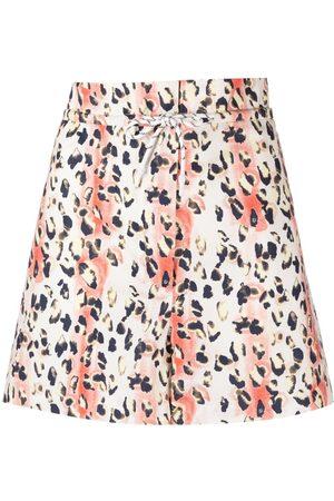 REMAIN Women Shorts - Leopard-print organic-cotton shorts
