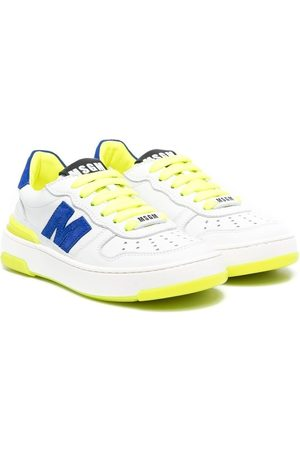 Msgm Boys Sneakers - Logo leather trainers