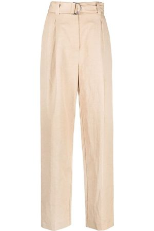 Msgm Women Straight Leg Pants - Belted straight-leg trousers - Neutrals