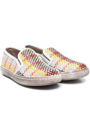 PèPè Boys Flat Shoes - Check-print slip-on trainers