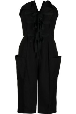 Serafini Women Playsuits - Lace-up detail strapless playsuit