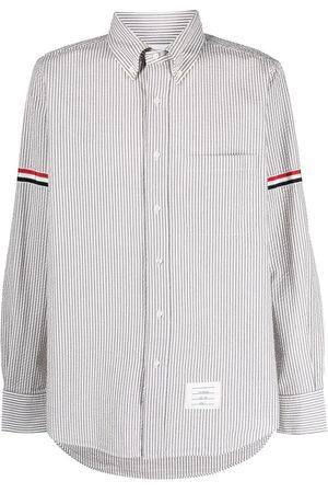Thom Browne Vertical-stripe long-sleeve shirt - Grey