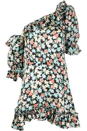 Saint Laurent Women Printed Dresses - One-shoulder floral print dress