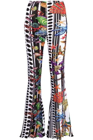 VERSACE Flared starfish-print trousers