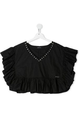 MONNALISA Girls Crop Tops - TEEN ruffle-trimmed crop top
