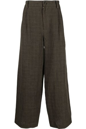 ZIGGY CHEN Men Wide Leg Pants - Checked wide-leg trousers