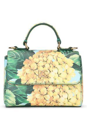 Dolce & Gabbana Girls Bags - Hydrangea-print leather handbag